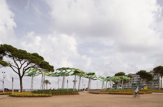 Swaying Tree Shade Sculpture Mimics Real Pines By The Sea