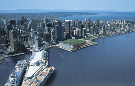 vcec_expansion_aerial_view.jpg, vancouver convention center, convention center green roof, green roof construction, 2010 olympics, green building, green roofs, green roof technology, canada green roof