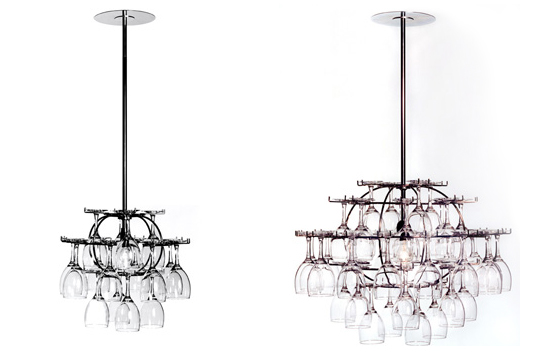 Wine glass chandelier inhabitat green design innovation wine glass chandelier aloadofball Gallery