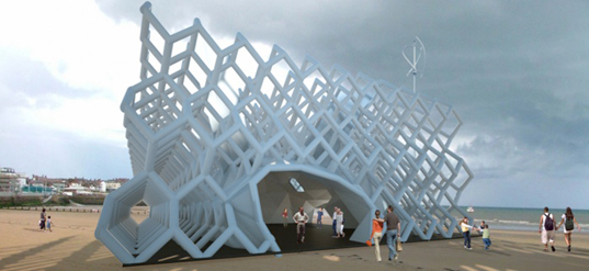 Inflatable diamond grid eco pavilion by various architects for Architecture fantastique