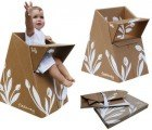 Portable Flatpack High Chair Made from 100% Recycled Cardboard