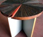 Salvaged Wood Table Shines With a Slice of Color