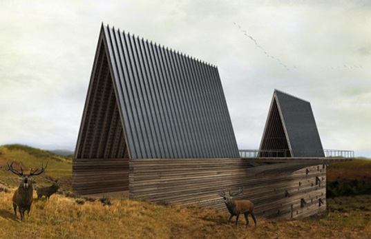 Conceptual architectural design, green building, sustainable design, sky bridge, Montana home