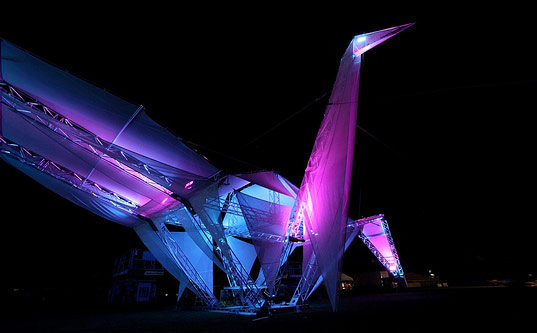 giant crane, origami crane, ascension, coachella, coachella music festival, california, LED, solar power, photovoltaics, art, living art installation, art installation, crimson collective, art and architecture, eco design, green design, eco art, sustainable art