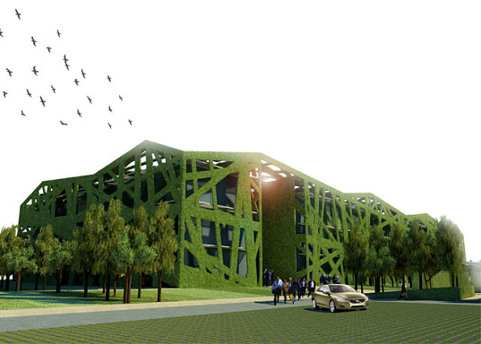 studiodosi, italy, parma, province of parma, exoskeleten, double  skinned building, living exoskeleton, living walls, vegetated walls,  natural ventilation, daylighting, skylights, solar energy, solar power,  zero carbon, carbon neutral, design proposal, green building, eco  design, green design, sustainable building