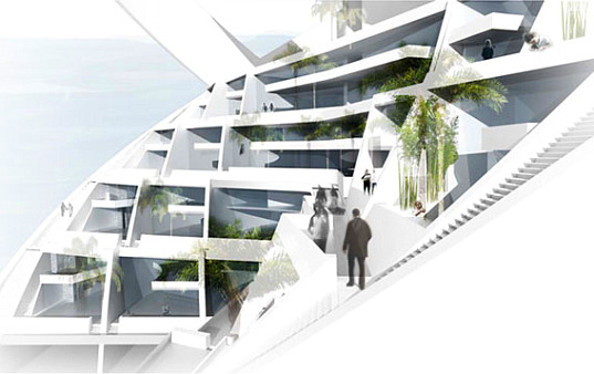 Terrace Building Design the spiral tower lets families have the best of suburban and urban