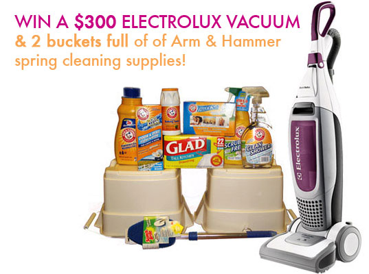 Inhabitots giveaway, free stuff, free cleaning supplies, arm and hammer, arm & hammer, electrolux vacuum, design competitions, giveaways, spring cleaning, cleaning supplies