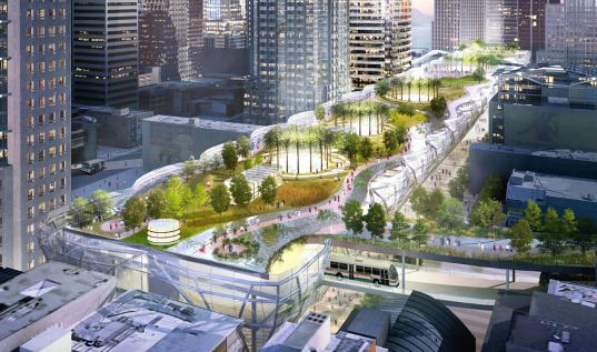 transbay transit center, transit center, bart station, train station, green transportation, San Francisco, SF, solar passive design, geothermal cooling, public park, city park, open space, urban park, high speed rail, wind power, sustainable building, green design, eco design