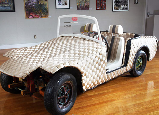 sustainable design, green design, green materials, corian, cloth car, green transportation, eco friendly design, mg midget, ann conte, jeanne wiley, fabric car, woven car