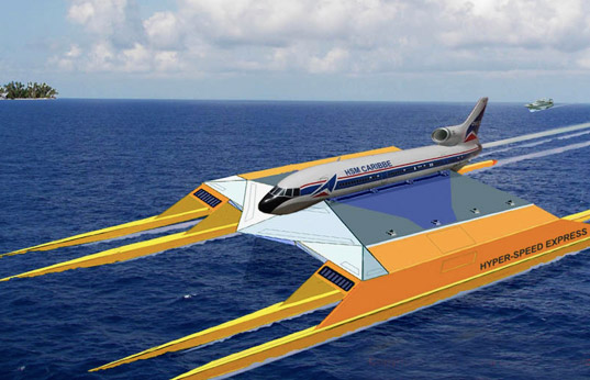 sustainable design, green design, hydro lance, alternative transportation, recycled airplane boat, jet engine boat, pontoon airplane ship