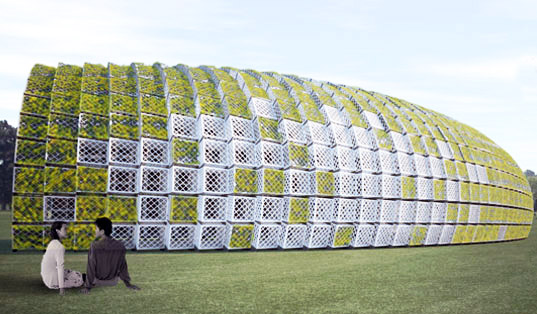 Living pavilion, green wave, ann ha, behrang hehin, new york city, governors island, reclaimed milk crates, city of dreams pavilion competition 2010, figment