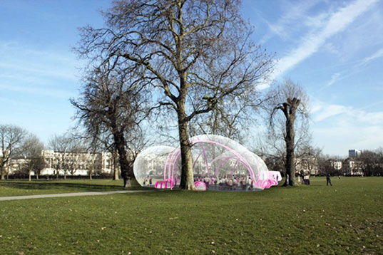 Raumlabor architecture, Bubbletecture, london parks, sustainable architecture, temporary architecture, eco design, green design, Rosy (the ballerina), Pavilion 2010, upprojects