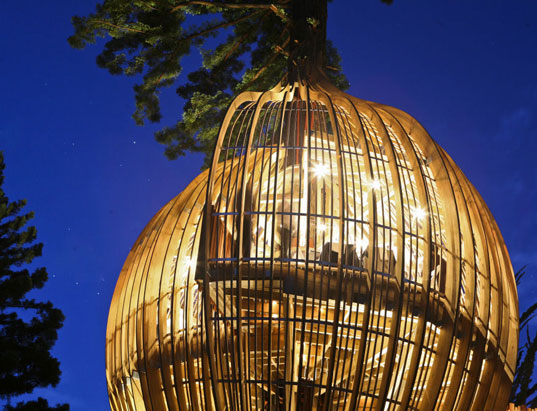 Incredible Yellow Treehouse Restaurant Rises Above New Zealand | Inhabitat  - Green Design, Innovation, Architecture, Green Building