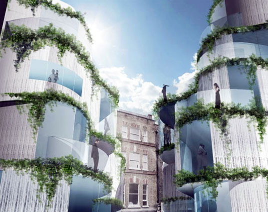 urban infill, urban design, apartment development, vertical garden, garden, open space, daylighting, natural ventilation, vertical garden, eco design, green design, studio seilern, whitehorse street apartments