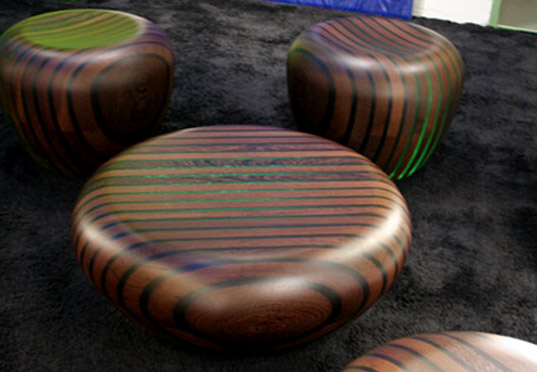 Glow Furniture bright woods' tables and chairs captivate with an engaging glow