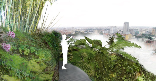 water tower, italy, rainwater, water storage, sky gardens, public park, park, urban green space, urban park, green space, water infiltration, atelier ramdam architects, green building, sustainable building, eco design