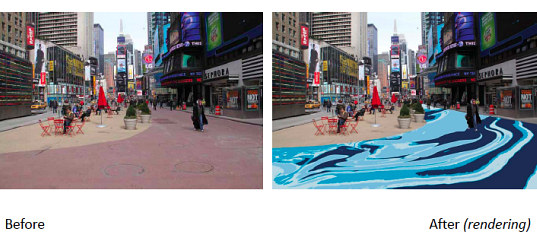 times square, new york city, nyc, broadway, pedestrian, pedestrian friendly, urban space, public space, installation, molly dillworth, cool water hot island, pour painting, urban heat island effect, manhattan, green design, eco design,
