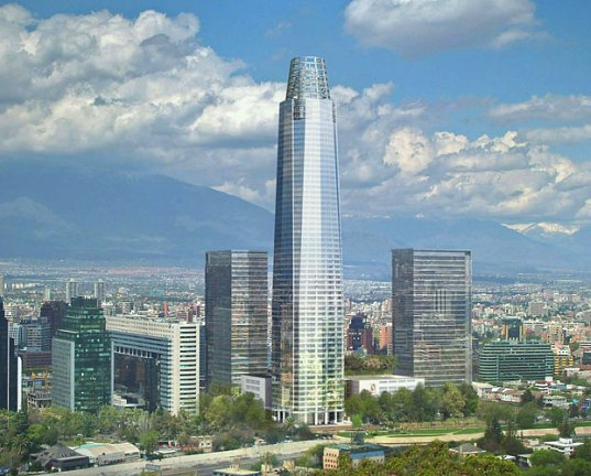costanera center, tallest building, south america's tallest building, torre costanera, santiago, chile, pelli clarke pelli, mixed use development, LEED, LEED Gold, green roof, energy efficient design, recycled materials, green design, green building, eco design, sustainable building