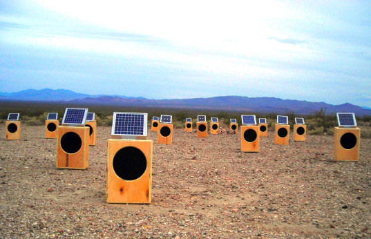 craig colorusso, sun boxes, eco art, field installations, eco installations, solar power, solar powered speakers, music, eco music, art installations, green gadgets