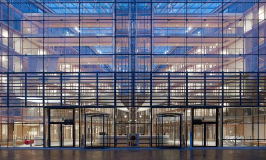 european investment bank, luxembourg, green architecture, ingenhoven architects, daylighting, energy efficiency, indoor gardens, natural ventilation, glass facade, green design, eco design, sustainable building