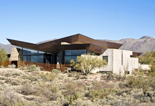 Rammed earth construction, Scottsdale architecture, sustainable desert design, rain catchment, green building, site used building material, gold nugget award