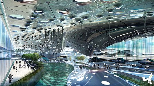 Hong Kong, China, Hong Kong Boundary Crossing Facility, Ephemeral Roof Exchange, renewable energy, solar power, photovoltaics, hydro power, piezeoelectric, human powered, transit hub, transportation center, transporation hub, sustainable building, green design, eco design