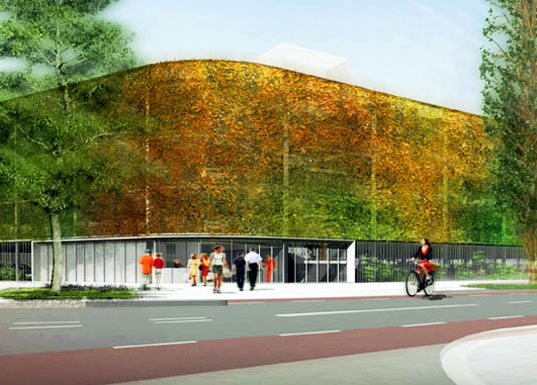 paul de ruiter, leiden, netherlands, parking garage, temporary structures, recyclable materials, daylighting, biomimicry