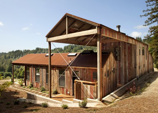 Solar thermal, outdoor room, reclaimed siding, natural cooling, solar heating, Santa Cruz home, Green compound