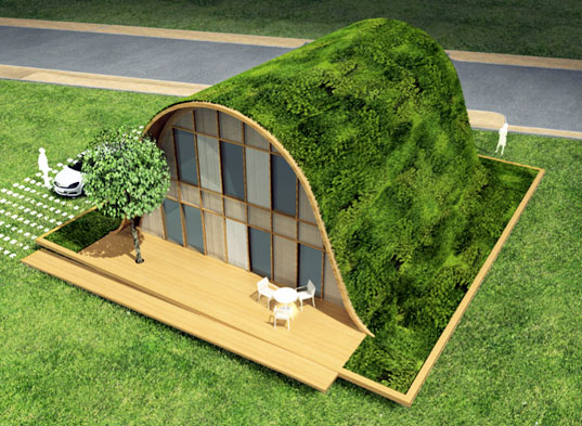 Patric Nadeau, Green roof, French green home, wave house, green building, sustainable design, vertical garden, landscape architecture