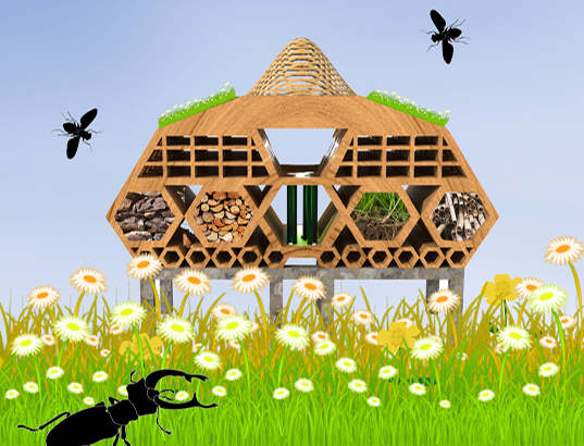 bug hotels, insect hotels, architecture, bug architecture, bee hotel, bee house, colony collapse disorder, London, arup, british land, city of london, design competition, green design, eco design, sustainable building