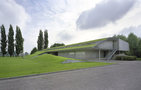 green roof, soccer facility, football, chartier-corbasson, france, green design