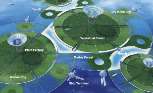 self-sufficient, floating city, shimizu corporation, japan, pacific ocean, vertical farm, renewable energy, energy efficiency, solar power, wind power, space solar power, floating island, green design, sustainable building, eco design