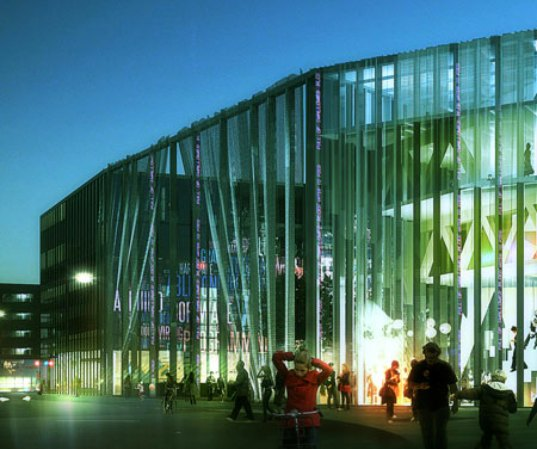 cultural center, community center, MVDRV, Adept architects, denmark, house of culture and movement, design for health, activity, community, natural ventilation, solar power, green design, eco design, sustainable building,