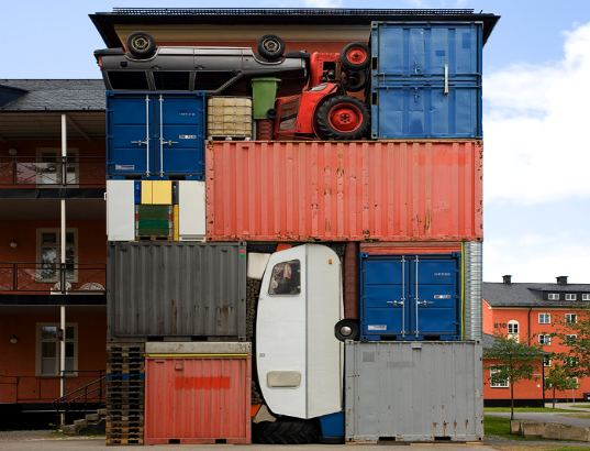 "shipping containers, art, michael johansson, ""self contained"", repurposed objects, recycled materials, sweden"