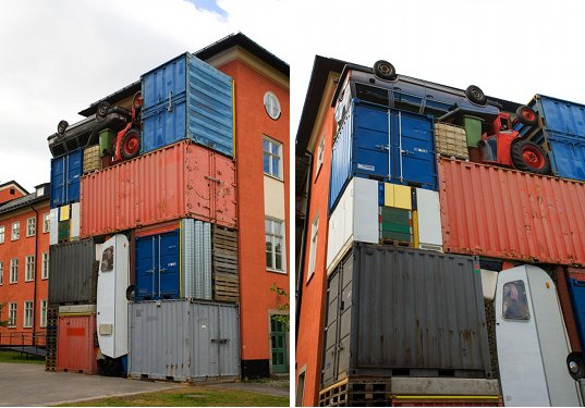 """shipping containers, art, michael johansson, """"self contained"""", repurposed objects, recycled materials, sweden"""