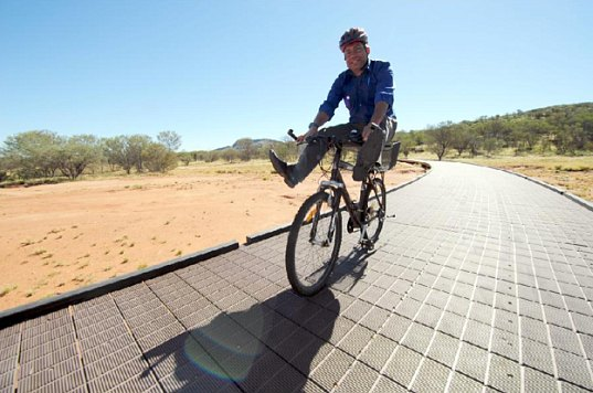 australia, replas, recycled plastic material, recycled printer cartridges, recycled plastic decking, bike path, national park, west macdonnell national park, green material, greener materials, eco friendly materials, recycled materials, green design, eco design, sustainable design