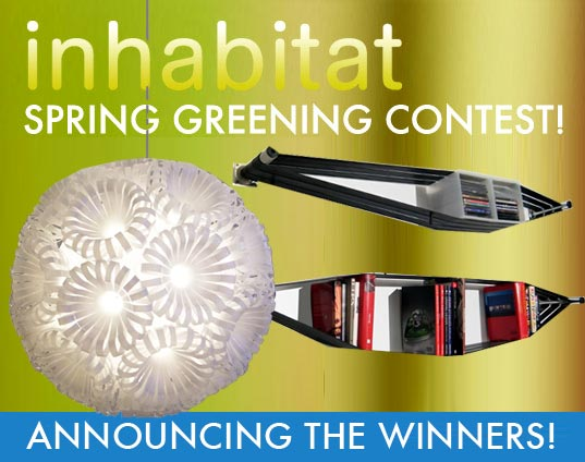 Announcing the Inhabitat Spring Greening Contest Winners, recycled design, reclaimed design, upcycled design, green design, eco design, lighting design, furniture design, shelving design, recycled bottle lamp, Elasticshelf, recycled bike tires