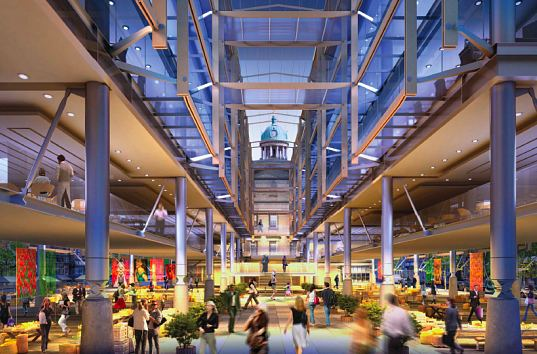 toronto, canada, st. lawrence, st. lawrence market north, adamson associates architects, rogers stirk harbour + parners, red design, market hall, green roof, green building, geothermal, mixed-use development, green design, eco design, sustainable building
