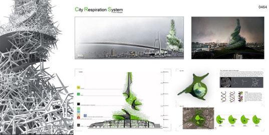 Pavlína Doležalová, Jan Smékal, City Respiration Skyscraper, city respiration system, green skyscraper, green tower, green architecture, air cleaning building, green design, eco design, spiky skyscraper, sustainable design, air purification