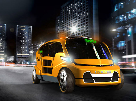 sustainable design, green transportation, electric vehicleunicab, nyc, new york city, taxi, cab, ev, phev, green design