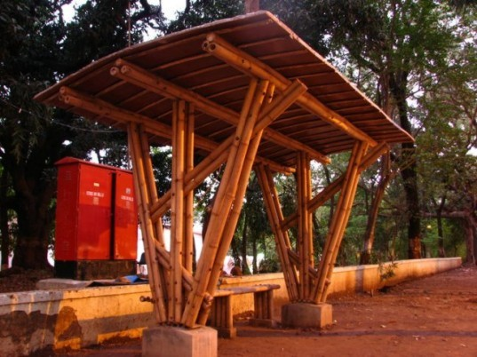 india, indian students, bamboo bus stop, bamboo, green transportation, green architecture, green building, eco architecture