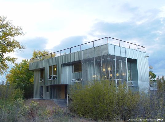 anderson anderson architecture, prefab house, prefabricated construction, chain link, metal siding, animal friendly