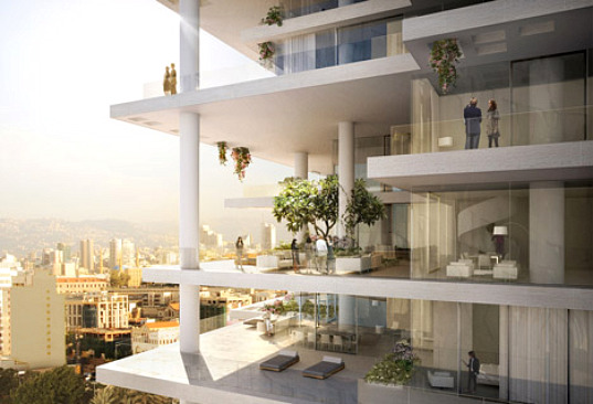 beirut terraces, beirut, herzog & de meuron, green apartment building, hanging gardens
