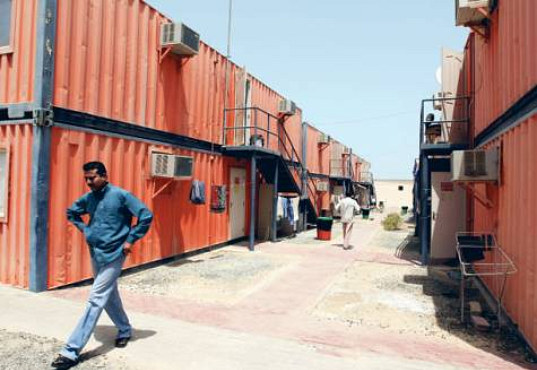 dubai, shipping containers, shipping container housing, worker  housing, green architecture
