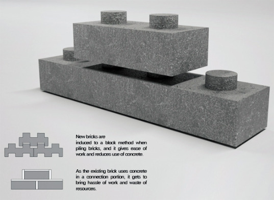 brick, recycled material, green material, construction waste, concrete, robot, construction debris