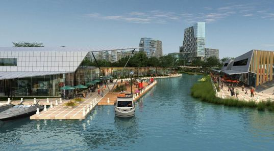 mixed-use development, grand canal, allen jack+cottier, china,  green roof, grey water recycling, rainwater collection