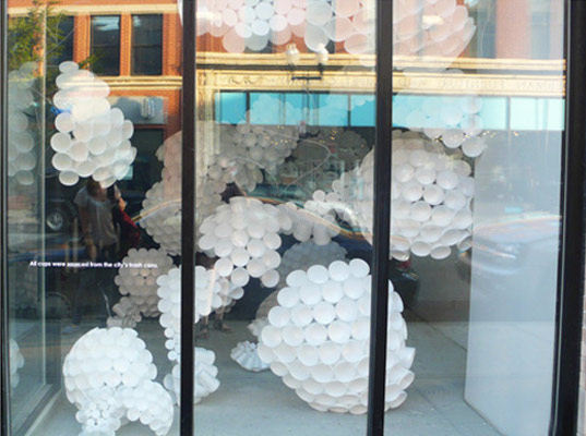Slow Commerce, The Indo Projects, Chicago, window display, eco design, sustainable design, green design, make believe, to go cups