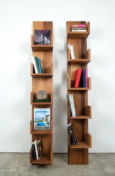 Leaning Shelves And Seating Made From A Dismantled Water