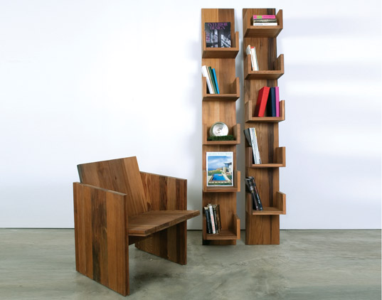 Deger Cengiz, Leaning Shelves, Planar Chair, green furniture, sustainable furniture, salvaged wood, new york designs, voos, green interiors, green chairs, green bookshelf