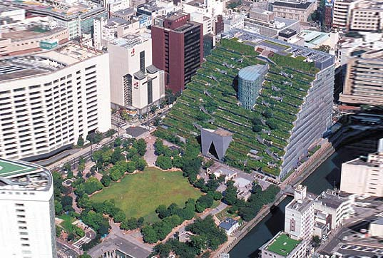 acros, japan, japanese, green roof, pyramid, ziggurat, green building, green architecture, eco architecture, sustainable architecture, fukuoka, grass covered building, green space, urban space, green design, eco design, sustainable design, Emilio Ambasz